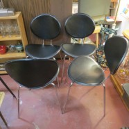 Vintage mid-century modern black leather dining chairs-$250