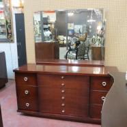 SALE! Vintage mid-century modern Kent Coffey mahogany dresser and mirror-$325