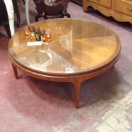 Vintage mid-century modern Lane round coffee table – $295