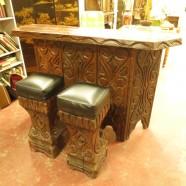 Witco mid century Tiki bar with 2 stools $895 for set