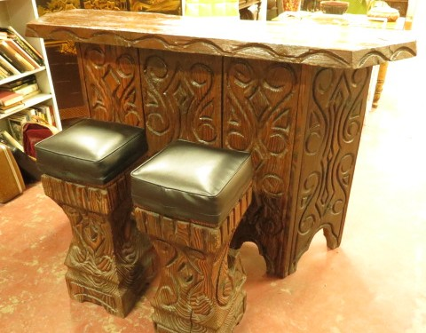 Witco mid century Tiki bar with 2 stools $895 for set