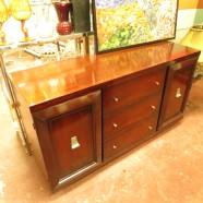 vintage mid century modern mahogany credenza – $380