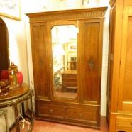vintage antique English mirror front oak armoire – $595