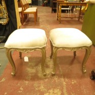 vintage pair of French style silver benches c. 1960 – $399/pair