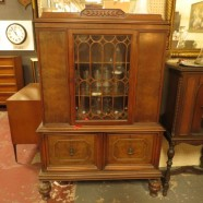 vintage antique burled walnut Rococo Revival china cabinet – $495