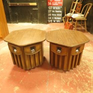 Sale! pair of vintage mid century hexagonal walnut laminate tables c. 1960 – $45