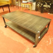 industrial steel coffee table with shelf – $165