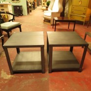 pair of industrial steel side tables with shelf – $145
