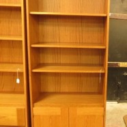 vintage Danish modern teak bookcase with doors c. 1960 – $295