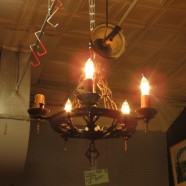 vintage antique Spanish Revival 5 light hammered metal chandelier by Virden c. 1930 – $250