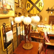 vintage Danish mid century modern 5 light table lamp c. 1960 – $425