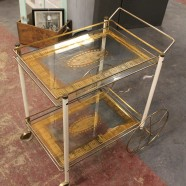vintage mid century modern outstanding brass and glass bar cart, c. 1960 – $295