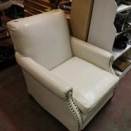 mid century modern white vinyl lounge chair c. 1960 – $200