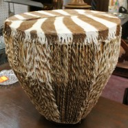 vintage zebra hair-on-hide drum – $225