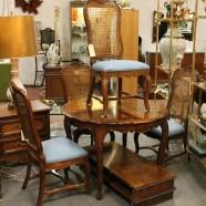 vintage antique style French walnut 5 piece dining set, c. 1960 – $725