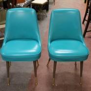 pair of vintage mid century modern turquoise vinyl chairs c. 1960s – $150