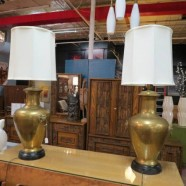 SALE! Pair vintage antique large Chinese brass lamps – $395/pair