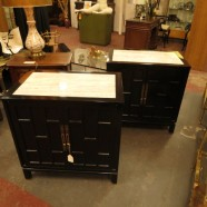Vintage mid century modern pair black lacquer chests c. 1960 – $895