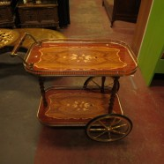 Vintage mid century modern brass and wood bar cart c. 1960 – $95