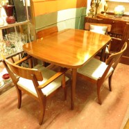 Vintage mid century modern mahogany dining table and four chairs c. 1960 – $890
