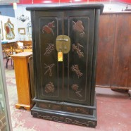 SALE! now $695, originally $895. vintage antique Chinese black lacquer armoire