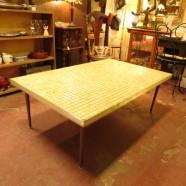 vintage mid century modern large tile top coffee table c. 1960 – $80