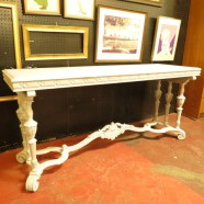 vintage antique carved wood painted console table c. 1900 – $650
