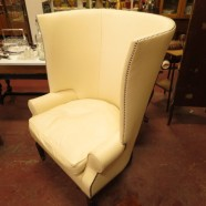 vintage wing back cream leather chair c. 1960 – $595