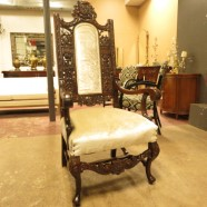 vintage antique Renaissance Revival carved mahogany throne chair c. 1860 – $895