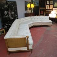 vintage mid century modern 3pc walnut sectional sofa by Dunbar c. 1960 – $895