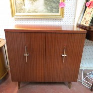 vintage mid century modern small walnut laminate cabinet c. 1960 – $150
