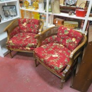 pair of vintage antique walnut arm chairs – $145/each