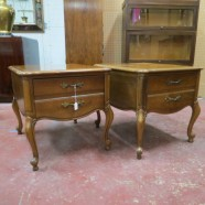 SALE! vintage antique French style pair of walnut nightstands or side tables c. 1940 – $150/pair