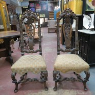 vintage antique pair of Jacobean Revival carved chairs c. 1880 – $695/pair