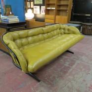 vintage mid century modern Homecrest iron and leather sofa c. 1960 – $995