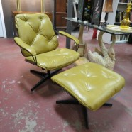 vintage mid century modern Homecrest iron and leather lounge chair and ottoman c. 1960 – $495