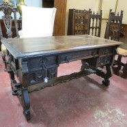 vintage antique heavily carved Tudor style desk c. 1900 – $695