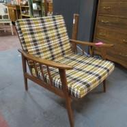vintage mid century modern plaid mahogany lounge chair c. 1960 – $165