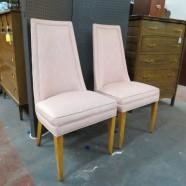 SALE! vintage mid century modern pair of pink upholstered chairs c. 1960 – now $99/pair, originally $299/pair