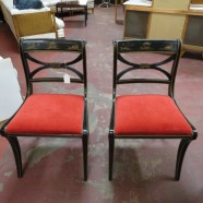 vintage antique pair of Drexel ebonized Chinoiserie occasional chairs c. 1940 – $250/pair