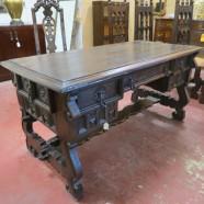 vintage antique heavily carved Tudor style desk c. 1900 – $795