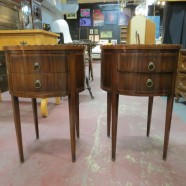 SALE! Pair vintage antique round mahogany side tables c. 1940 – now $250, originally $295