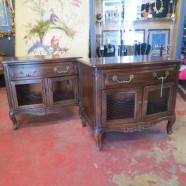 vintage antique pair Henredon country French oak nightstands / side tables c. 1950 – $495 / pair.