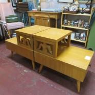 vintage mid century modern pair blonde end tables / night stands c. 1940s – $159/pair