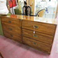 pair vintage mid century modern campaign chests / dressers c. 1960 – $495