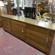 vintage mid century modern mahogany three drawer chest / dresser c. 1960 – $195/each