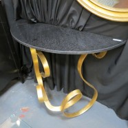 vintage Hollywood glam granite and gilt metal demilune table c. 1980 – $395