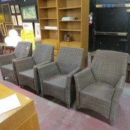 vintage set of 4 all weather rattan dining chairs – $895 / set