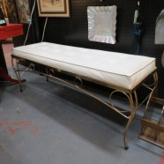 vintage mid century modern white vinyl bench with French style brass base c. 1960 – $175