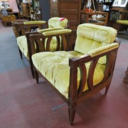 vintage mid century modern pair of walnut tufted velvet occasional chairs c. 1960 – $275 / pair